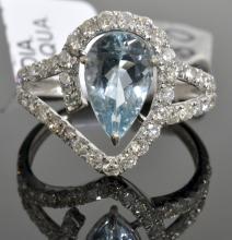 Aquamarine & Diamond Ring AV: $4,225