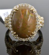 Ethiopian Opal & Diamond Ring AV: $4,200