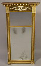 19TH CENT. N.E. GILT FEDERAL SPLIT COLUMN TABERNACLE MIRROR WITH REVERSE GLASS PAINTING