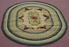 20TH CENT. N.E. FOLK ART COMBINATION HOOKED AND BRAIDED RUG