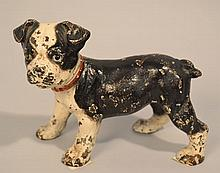 EARLY 20TH CENT. PAINTED CAST IRON BOSTON TERRIER PUP DOOR STOP