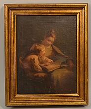 SARAH JANE FRANCES JOHNSTON OIL PAINTING OF A YOUNG MOTHER AND SON SHARING A BOOK