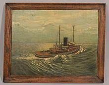 MAURICE FRIEDMAN OIL PAINTING ON CANVAS OF A TUG BOAT