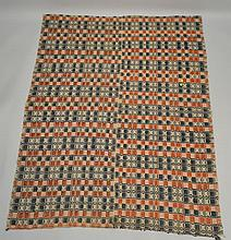 19TH CENT. N.E. HOMESPUN TRI COLOR COVERLET