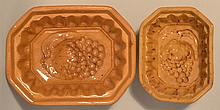 (2) 19TH CENT. YELLOW WARE GRAPE PATTERN FOOD MOLDS