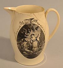 19TH CENT. LIVERPOOL JUG WITH (2) BLACK TRANSFER LANDSCAPE DECORATIONS