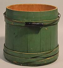 19TH CENT. N.E. PAINTED BANDED WOODEN FIRKIN