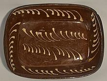 19TH CENT. PA. RED WARE LOAF PAN WITH WHITE SLIP DECORATION