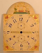 19TH CENT. RILEY WHITING - WINCHESTER (CT) PAINTED WOODEN TALL CASE CLOCK DIAL WITH MASONIC DECORATIONS
