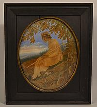 18TH CENT. - EARLY 19TH CENT. NEEDLEWORK EMBROIDERY AND WATERCOLOR GAUCHE PICTURE OF A SEATED WOMAN AND A SMALL DOG