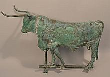20TH CENT. COPPER LONG HORNED BULL WEATHERVANE