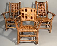 (3) MISC. 1940 INDIANA WILLOW PRODUCTS RUSTIC HICKORY CHAIRS AND ROCKERS