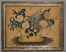 NICE 19TH CENT. N.E. FLORAL THEORUM PAINTING ON VELVET