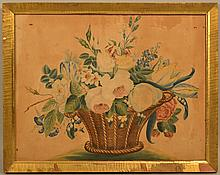 EARLY 19TH CENT. N.E. WATERCOLOR FLORAL THEOREM PAINTING