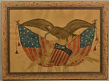 EARLY 20TH CENT. RALPH G. HARROD PATRIOTIC WATERCOLOR PAINTING OF THE U.S. EAGLE, FLAG AND SHIELD