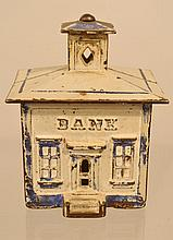 EARLY 20TH CENT. PAINTED CAST IRON CUPOLA BANK BUILDING COIN STILL BANK