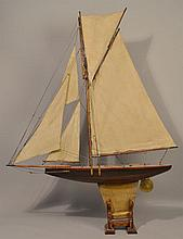 EARLY 20TH CENT. PAINTED WOODEN SLOOP SAIL BOAT SHIP MODEL