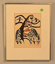 SADAO WATANABE 1973 COLOR DYE STENCIL PRINT CALLED HOLY MOTHER AND CHILD - OR FLIGHT INTO EGYPT