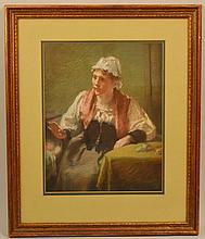 SARAH JANE FRANCES JOHNSTON PASTEL DRAWING OF A CONTINENTAL WOMAN WITH AN INFANT IN A CRADLE