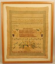 19TH CENT. MASS. NEEDLEWORK SAMPLER WROUGHT BY MARY P. MURPHY - POSSIBLY DORCHESTER MASS.
