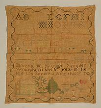 1834 CAZENOVIA N.Y. NEEDLEWORK SAMPLER WROUGHT BY MARTHA MARIA RAYNOR