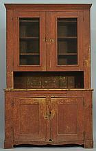 19TH CENT. PAINTED MID WESTERN STEPBACK CUPBOARD WITH SCREEN AND PANELED DOORS