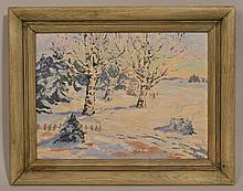 W.A. BURR WINTER LANDSCAPE OIL PAINTING