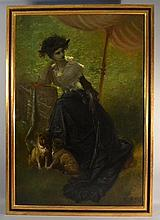 IMPORTANT GUSTAVE DORE OIL PAINTING OF A YOUNG WOMAN - PORTRAIT DE JEUNE FEMME