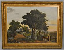 19TH CENT. - EARLY 20TH CENT. OIL LANDSCAPE PAINTING OF A N.E. VILLAGE - TITLED A HOME IN THE COUNTRY - AND OLD OAKEN BUCKET