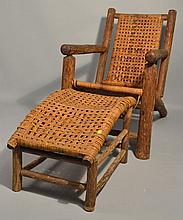1940 INDIANA WILLOW PRODUCTS RUSTIC HICKORY BEACH CHAIR AND OTTOMAN