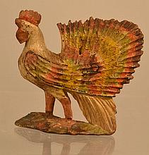 19TH CENT. CARVED AND PAINTED WOODEN FOLK ART ROOSTER FIGURINE