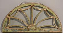 19TH CENT. PAINTED MOLDED WOODEN PALLADIAN WINDOW - ARCHITECTURAL FRAGMENT