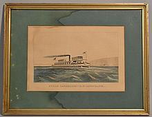 19TH CENT. CURRIER & IVES LITHOGRAPH TITLED - STEAM CATAMARAN - H.W. LONGFELLOW