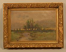 HARRY W. BROCKELL LANDSCAPE OIL PAINTING ON CANVAS