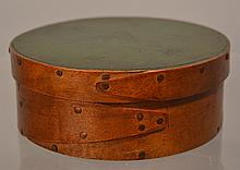 SMALL 19TH CENT. N.E. PAINTED ROUND BANDED PANTRY BOX