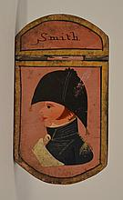 19TH CENT. PAINT DECORATED SHAPED TIN SNUFF BOX WITH SOLDIER PORTRAIT