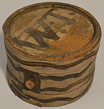 19TH CENT. PAINTED N.E. RUNDLET CANTEEN USED BY CAPTAIN JOSHUA THOMPSON & SON ABOUT WESTERLY R.I.
