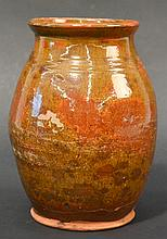 18TH CENT. - EARLY 19TH CENT. N.E. REDWARE OVOID JUG