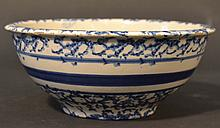 19TH CENT. BANDED BLUE SPONGEWARE BOWL