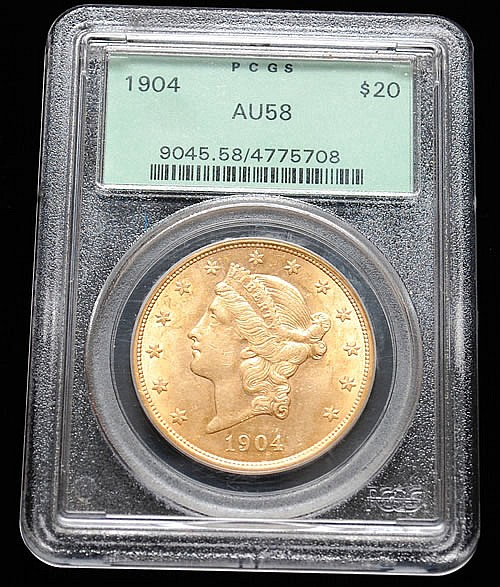 GRADED 1904 U.S. GOLD LIBERTY HEAD $20 COIN