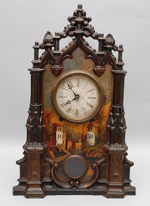 19TH CENT. PAINTED CAST IRON ARCHITECTURAL FAÇADE SHELF CLOCK