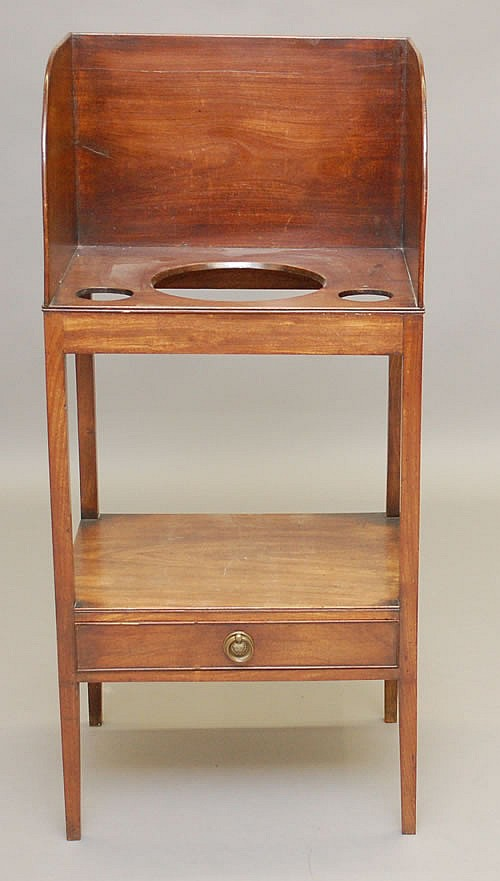 ENGLISH HEPPLEWHITE MAHOGANY HIGH BACKED WASH STAND