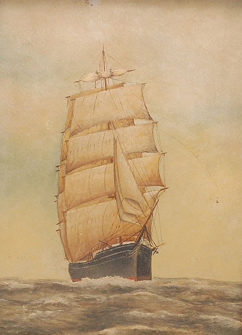 19TH-EARLY 20TH CENT. OIL PAINTING OF A 19TH CENT. SAILING SHIP