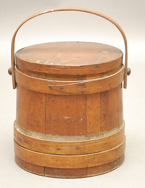 19TH CENT. F. LANE & SON MARLBORO DEPOT NH BANDED WOODEN FIRKIN