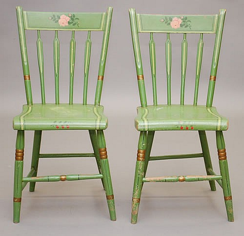 PR. 19TH CENT. PA PAINT DECORATED WINDSOR CHAIRS