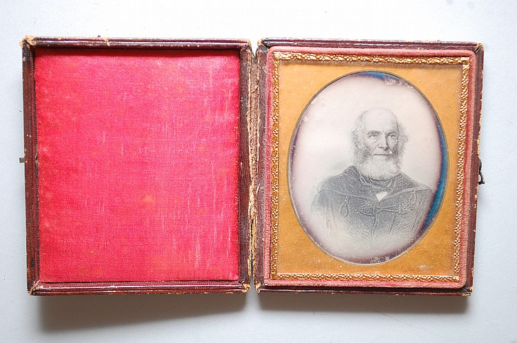 1/6 PLATE DAGUERREOTYPE PHOTOGRAPH OF WILLIAM CULLEN BRYANT'S PORTRAIT