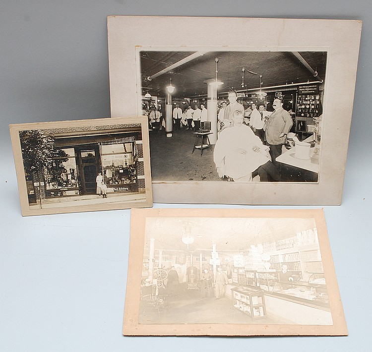 (3) 19TH-EARLY 20TH CENT. PHOTOGRAPHS OF STORE FRONTS & BUSINESS INTERIORS