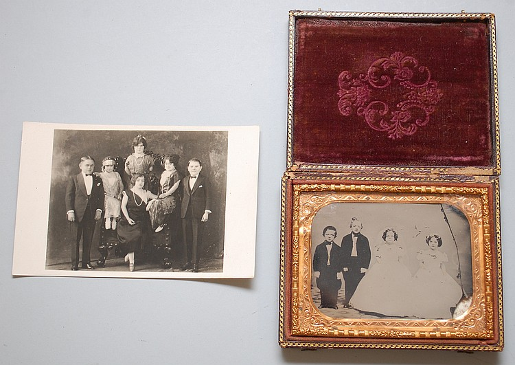 (2) MISC. PHOTOGRAPHS OF MIDGETS INCLUDING WEDDING AMBROTYPE