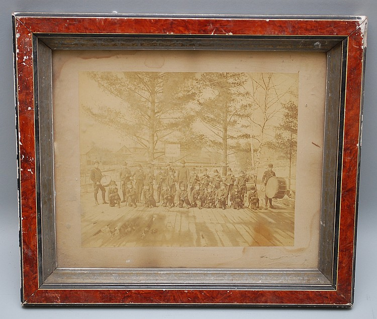 FRAMED 19TH CENT. UNIFORMED BOYS ASSEMBLED GROUP MOUNTED ALBUMIN PHOTOGRAPH