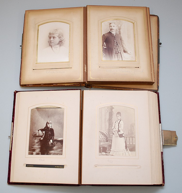 (2) 19TH CENT. VICTORIAN PHOTOGRAPH ALBUMS W/ PHOTOS
